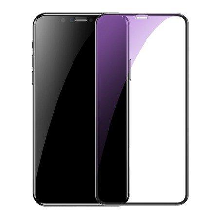 Baseus 2x szkło na cały ekran Full Screen z ramką 0.3mm 9H Anti-bluelight iPhone 11 Pro Max / iPhone XS Max + pozycjoner czarny (SGAPIPH65S-KD01)