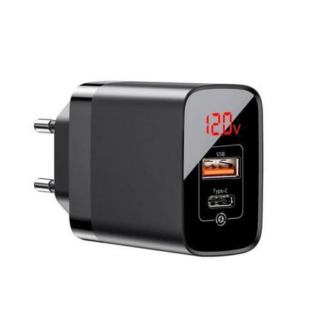 Baseus Mirror Lake PPS szybka ładowarka Quick Charge 3.0 Power Delivery 3.0 USB / USB Typ C 18W z wyświetlaczem czarny (CCJMHC-A01)