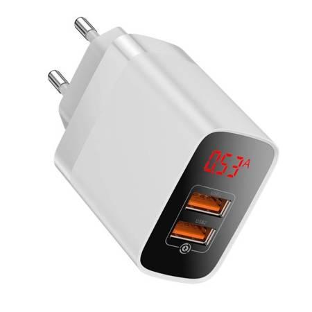 Baseus Mirror Lake szybka ładowarka Quick Charge 3.0 2x USB 18W z wyświetlaczem biały (CCJMHA-A02)