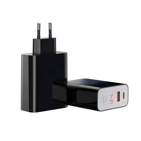 Baseus Speed PPS ładowarka sieciowa EU USB + USB Typ C PD3.0 QC3.0 45W czarny (CCFSEU907-01)
