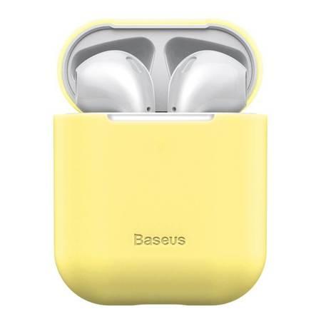 Baseus silikonowe etui case na słuchawki AirPods 2gen / 1gen żółty (WIAPPOD-BZ0Y)