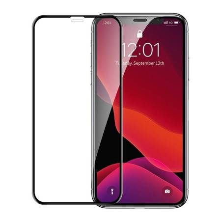 Baseus szkło hartowane na cały ekran Full Screen z ramką 0.23mm 9H iPhone 11 / iPhone XR + pozycjoner czarny (SGAPIPH61-APE01)