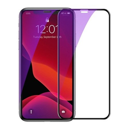 Baseus szkło na cały ekran Full Screen z ramką 0.23mm 9H Anti-bluelight iPhone 11 Pro / iPhone XS / iPhone X + pozycjoner czarny (SGAPIPH58-ATE01)