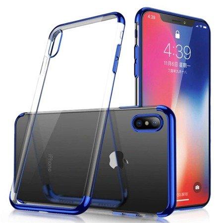 Clear Color case żelowy pokrowiec etui z metaliczną ramką Samsung Galaxy A70 niebieski