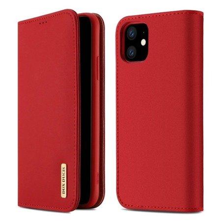 DUX DUCIS Wish skórzane etui pokrowiec ze skóry naturalnej iPhone 11 czerwony