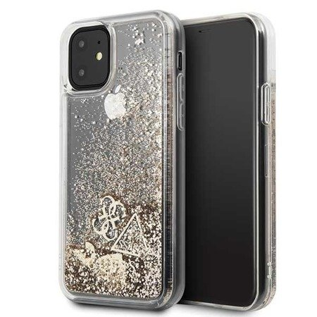 Etui Guess GUHCN61GLHFLGO iPhone 11 gold/złoty hard case Glitter Hearts