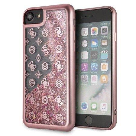 Guess GUHCI8PEOLGPI iPhone 7/8 różowy /pink hard case 4G Peony Liquid Glitter