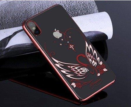 Kingxbar Swan Series etui ozdobione oryginalnymi Kryształami Swarovskiego iPhone XS Max czerwony
