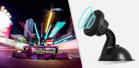 Magnetyczny uchwyt samochodowy na szybę czarny