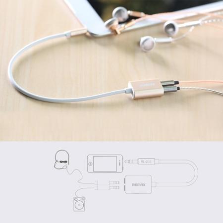 REMAX kabel rozdzielacz gniazda mini jack biały