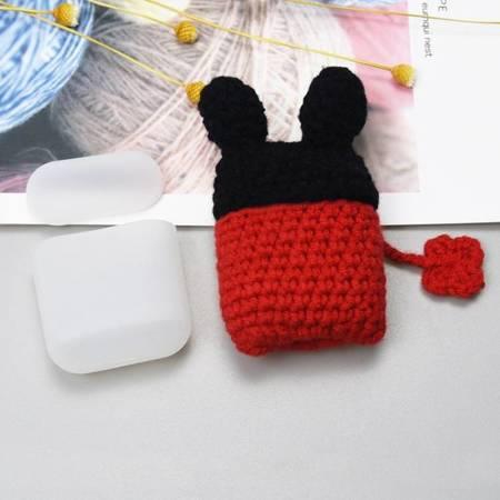 Silikonowe etui pudełeczko case na słuchawki AirPods 2gen / 1gen z wełnianą nakładką myszka