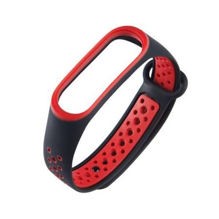 Zamienna silikonowa opaska pasek do Xiaomi Mi Band 4 / Mi Band 3 Dots czarno-czerwony